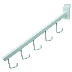Slatwall 5 Hook Waterfall Faceout Square Tube Fixture J Hook White 25 Pieces