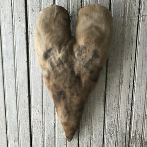 Primitive Large Grungy Heart Pillow Bemis Vintage Feed Sack Rag Filled Country