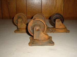 Set Of 4 Antique Vintage Matching Bond Cast Iron Industrial Caster Cart Wheels