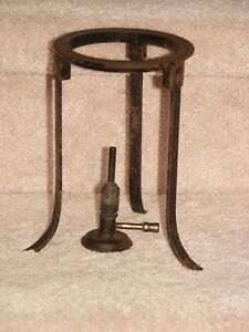 Antique German Bornkessel Bunsen Burner And Stand
