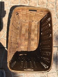 Antique Warehouse Basket Hardwood With Painted Green Warp Skids For Heavy Use