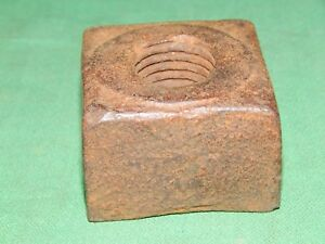 Large Antique 2 By 1 3 8 High Square Iron Nut For A 1 Bolt