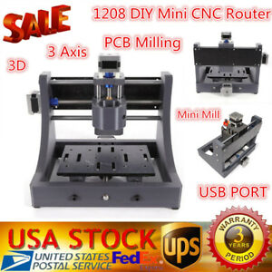 3 Axis Mini Diy Usb Cnc Router Wood Carving Engraving Pcb Milling Machine 1208