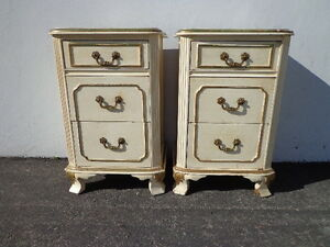Pair Of Nightstands Victorian French Provincial Empire Antique Shabby Chic Glam