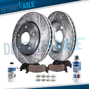 Front For 1999 2004 Jeep Grand Cherokee Drilled Disc Rotors Ceramic Brake Pad