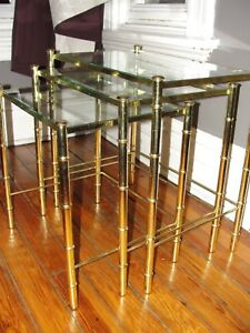 Vintage Mcm Hollywood Regency Glass Faux Gold Bamboo Brass 3 Nesting Side Tables