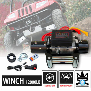 12000lb Dc 12v Electric Mute Auto Brake Ip67 Waterproof Winch Kit For Atvs utvs