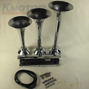 Chrome Loud 152db 12v Or 24v 3 Triple Trumpet Train Air Horn Metal Boat Truck