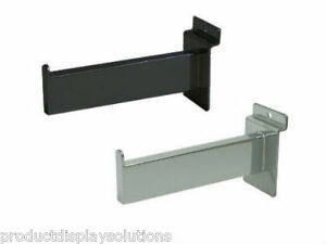 Case Of 24 Slatwall 6 Straight Rectangular Faceout Arm Black Or Chrome