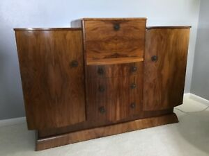 Rare 1930s English Art Deco Burl Wood Lighted Cocktail Cabinet Bar Credenza Harp