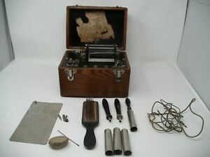 Vintage Electric Shock Machine Induction Coil Medical Quack Therapy W Attachment
