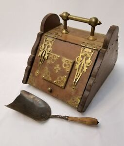 Antique Vintage Coal Ash Wood Box With Brass Accents 1866 Dated Shovel