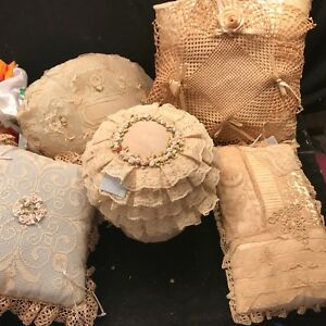 5 Pc Antique Lace Rossettes Victorian Style Treasure Box Pillows Shabby Chic