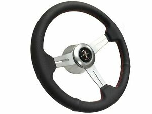 1965 1967 Ford Mustang S6 Perforated Leather Steering Wheel Brushed Kit