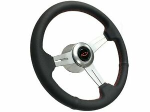 1969 1994 Chevy S6 Perforated Leather Steering Wheel Brushed Kit Red Bow Tie