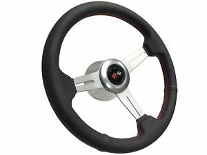 1969 1994 Chevy S6 Perforated Leather Steering Wheel Brushed Kit Cross Flags