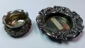 Lot Of 2 1880 1894 Gorham Sterling Silver Open Salts 486 Repousse 2550