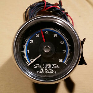 Vintage Sun Super Tach 8k 8000 Rpm Tachometer Hot Rod Muscle Car Gauge