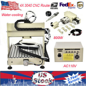 800w 4x 3040 Cnc Router Engraving Machine Carving Cutter Water cooling Ac 110v