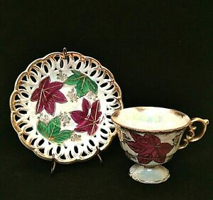 Fan Crest Fine China Cup Saucer Vintage Japan Hand Painted Leaves With Stand
