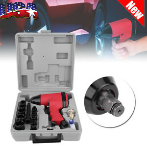 17pc 1 2in Twin Hammer Air Impact Wrench Gun Set W Sockets Us Adapter Set Us