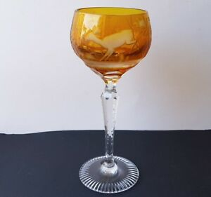 Rummer Wine Glass Flashed Glass Amber Color Hunting Deer Moser K477