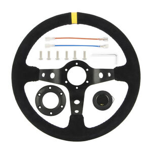 350mm 13 8 Inches Deep Dish 6 Bolt Sport Racing Steering Wheel Suede Horn Button