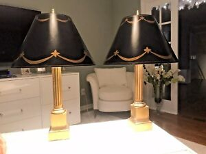 Pair Of Hollywood Regency Brass Column Antique Black Swag Painted Shades