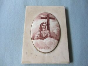 Antique Religious Porcelain Hand Painted Plaque On Marble Of Virgin M