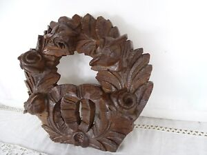 Antique French Hand Carved Wood Oak Pediment Wreath Of Flowers Roses