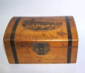 Antique Miniature Dome Lid Trunk With Robert Burns Cottage Scotland On Lid