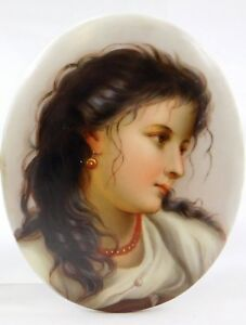 Porcelain Hand Painted Portrait Plaque Of Woman With Black Hair Red Gold Jewelry