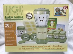 Magic Baby Bullet Complete Food Making System And Storage Cubes 2001 20piece NEW