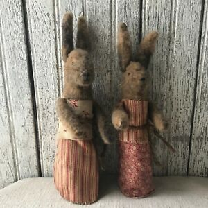 Set Of 2 Primitive Pocket Bunnies Standing Grungy Hand Stitched Red Dresses