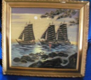 Antique Chinese Painting On Silk Sailboats On Moonlit Water Signed Framed