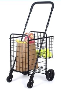 Supenice Double Basket Folding Shopping Cart