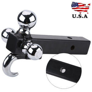 Triple 3 Ball Trailer Hitch Receiver Mount 1 7 8 2 2 5 16 Towing With Hook