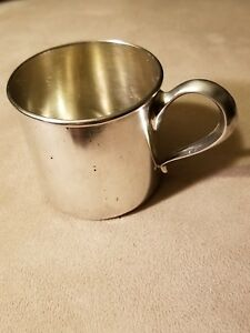 Antique Engraved 2 1 4 Rlb Lunt Sterling Silver Baby Cup 51 Grams