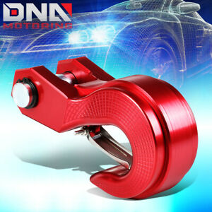 Aluminum Tow Towing Winch Swivel Recovery Hook Trailer Hitch Safety Latch Red