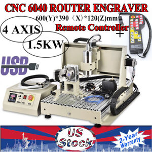 New 1 5kw Usb 4axis 6040 Cnc Router Engraving Machine 3d Wood Engraver Handwheel