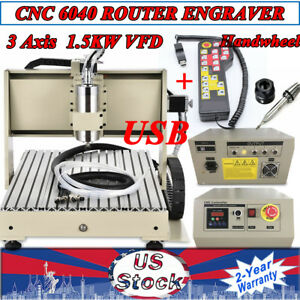 Usb 3 Axis Cnc 6040 Router Desktop Engraver Engraving Machine 1 5kw Handwheel