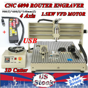Usb 4axis Cnc 6090 Router Engraver Milling Machine 3d 1 5kw Handwheel Useful Usa
