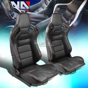 Black Body Reclinable Pvc Horizontal Stitch Racing Seats W universal Sliders