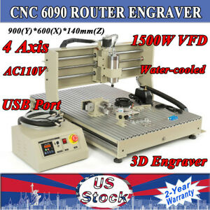 Usb 4axis Cnc 6090 Router Engraver Machine Cutter 1 5kw 3d Emc2 Vfd Useful New