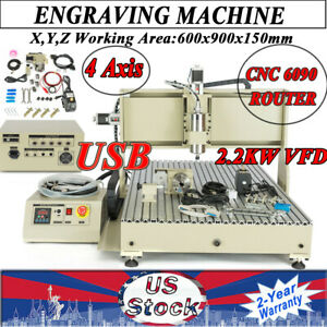 Usb Cnc 6090 Router 4 Axis Engraver Wood Pvc Carving Milling Machine 2200w Vfd