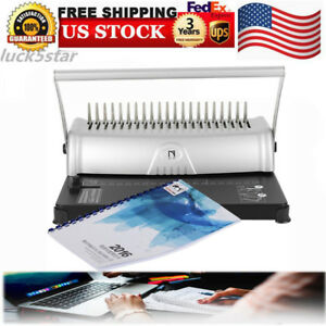 21 Hole 450 Sheets Binding Machine Paper Comb Punch Binder Scrapbook Usa Stock