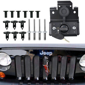 For 2007 2018 Jeep Wrangler Jk Anti theft Hood Lock Kit Fit Original Key