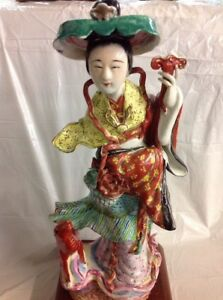 Antique Famille Rose Porcelain 13 5 Chinese Statue Geisha Girl With Dog Deer