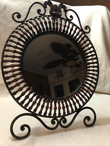 Table Top Mirror Rustin Iron 20 Inches Tall