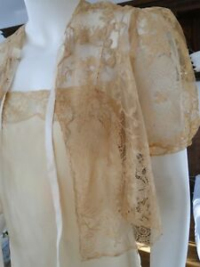 Circa 1920 S Ladies Alencon Lace Jacket With Matching Camisole
